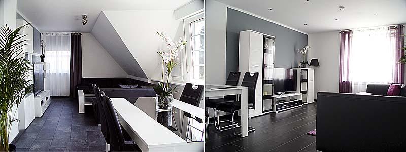 Abbildung der beiden Wohnzimmer von La Domus Premium und Superior